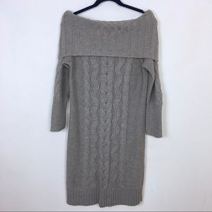 LOFT Beige OTS Knitted Cowl Neck Sweater Dress